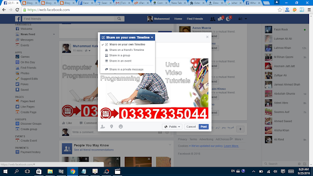 Share Facebook Post  select option