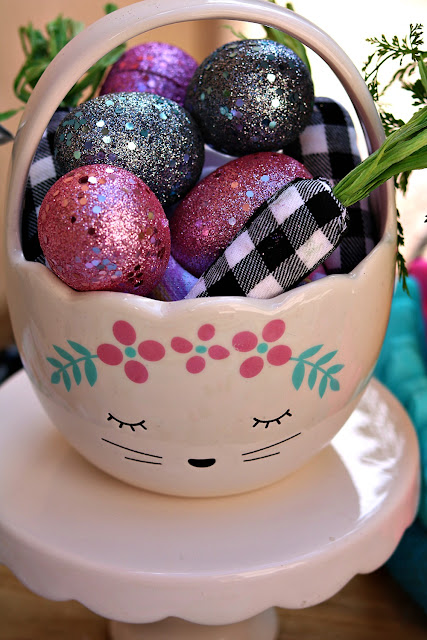 ceramic, Easter, basket, glitter, eggs, cottage, outdoor, tablescape, athomewithjemma.com