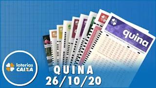 Resultado da Quina 5400 – Lotofácil – Concurso nº 2066 – Super Sete 26/10/2020