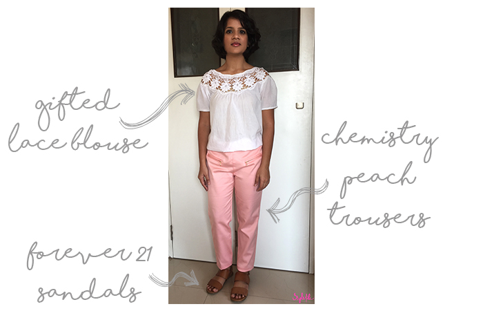 Dayle Pereira the blogger of Style File wears a casual chic look of a white lace shirt with peach trousers and tan sandals for a business meeting