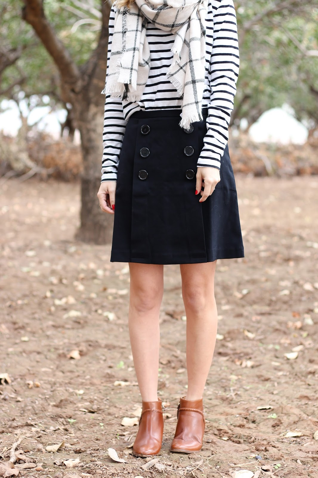 look book - stripe top - plaid scarf - skirt
