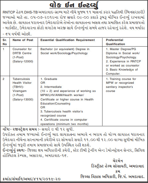 RNTCP Kheda Recruitment For Counsellor & Tuberculosis Health Visitor Posts 2019