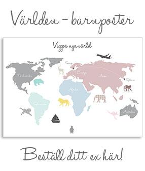 världskarta poster barn