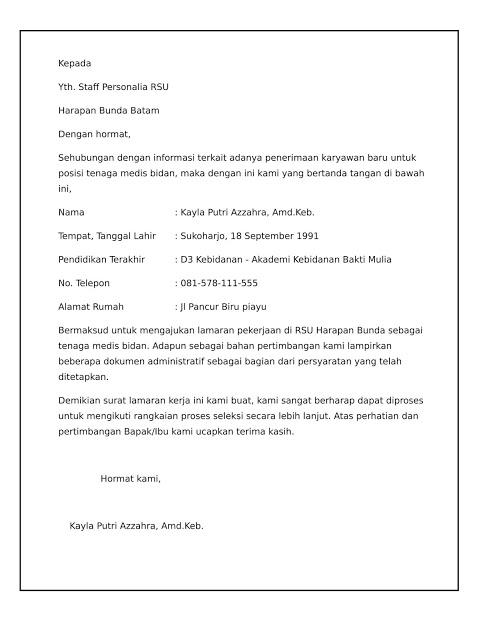 Download Contoh Surat Lamaran Kerja Bidan Tahun 2020 Saungsurat