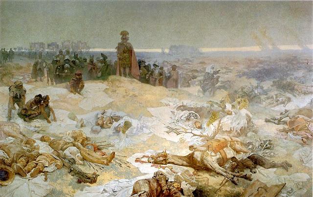 Альфонс Муха - Славянский эпос. После Грюндвальской битвы, 1924