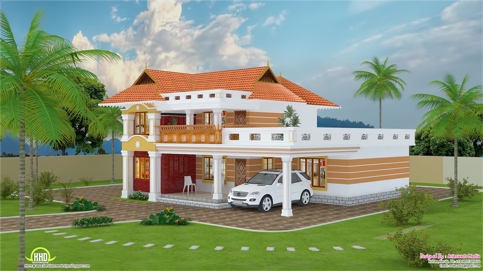 2700 beautiful villa design kerala home design for Beautiful farmhouse plans