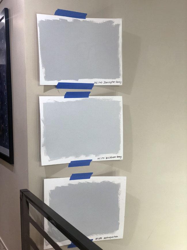 Light grey paint sample boards