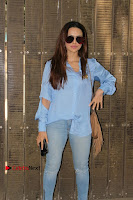 Actress Sana Khan Pos in Denim Jeans Dubbing at Her Upcoming Movie Toilet Ek Prem Katha .COM 0003.jpg
