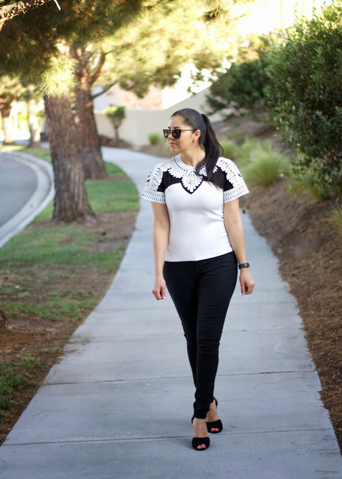 Black and white outfit, sheinside clothes blogger, zara ankle strap shoes, san diego street style, best of san diego bloggers
