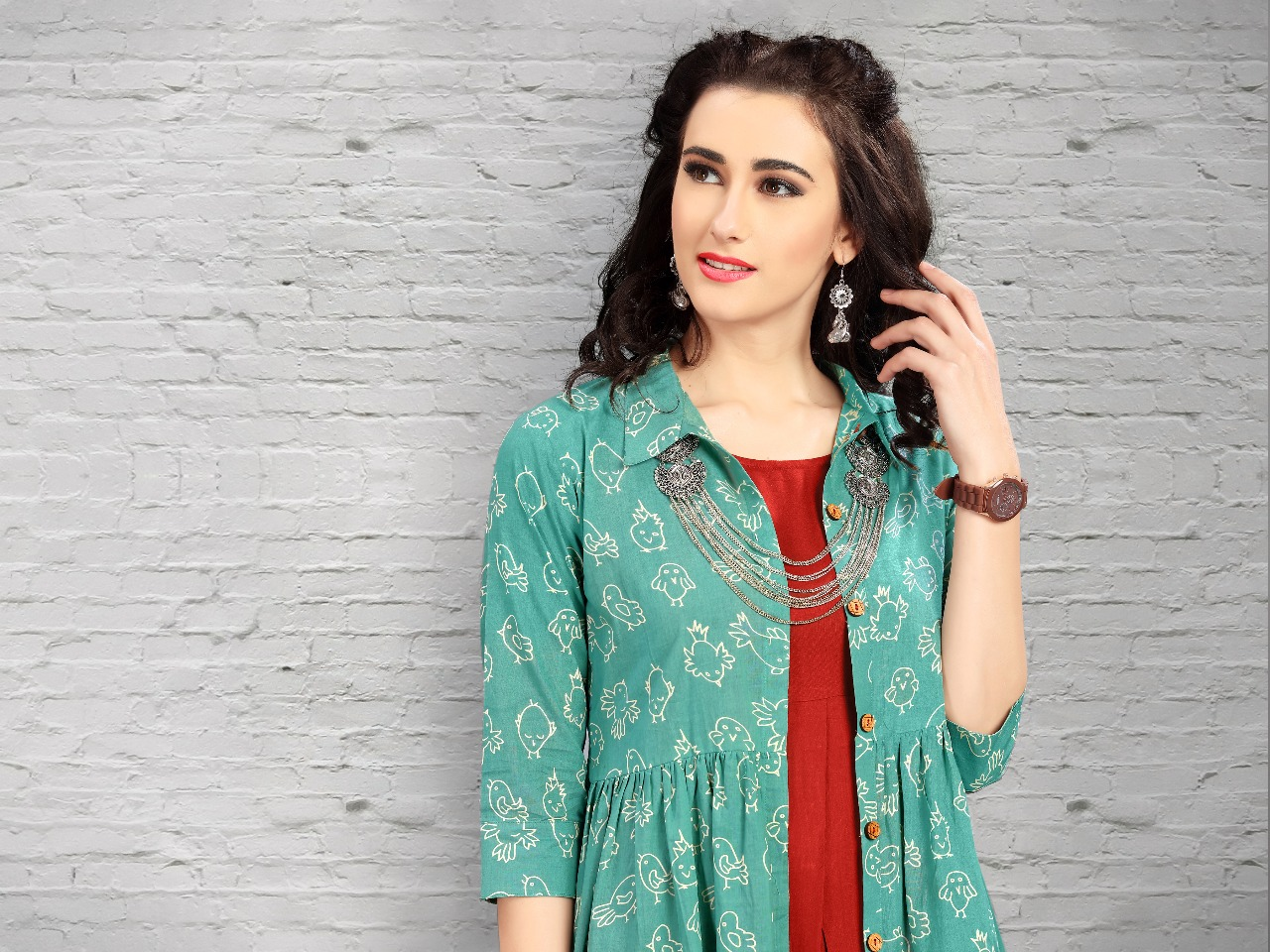 Mrigya florent 2 Kurtis with shrug and jackets catalog