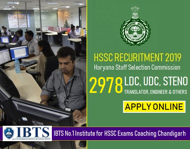 HSSC Recruitment 2019  2978 LDC, UDC, Steno, Translator, Engineer & Other Posts (Apply Online )