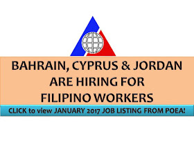 The following are jobs approved by POEA for deployment to Bahrain, Cyprus and Jordan. Job applicants may contact the recruitment agency assigned to inquire for further information or to apply online for the job.  We are not affiliated to any of these recruitment agencies.   As per POEA, there should be no placement fee for domestic workers and seafarers. For jobs that are not exempted on placement fee, the placement fee should not exceed the one month equivalent of salary offered for the job. We encourage job applicant to report to POEA any violation on this rule