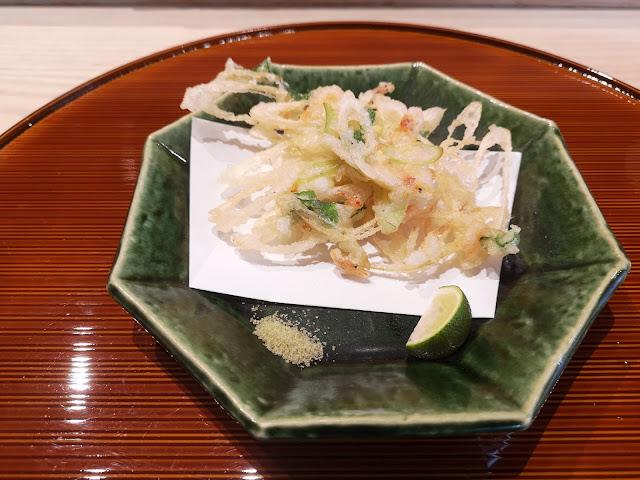 Sakura Ebi with Japanese Leek (Ashitaba) with Matcha Salt and Japanese Lime