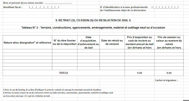 Déclaration de la taxe professionnelle maroc