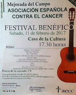 Cartel del Festival Benéfico  ASOCIACIÓN ESPAÑOLA CONTRA EL CÁNCEL Mejorada del Campo (Madrid) Casa de la Cultura 11 de Febrero de 2017