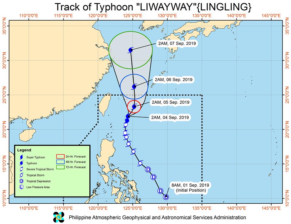 Track of Typhoon Liwayway as of September 4, 2019