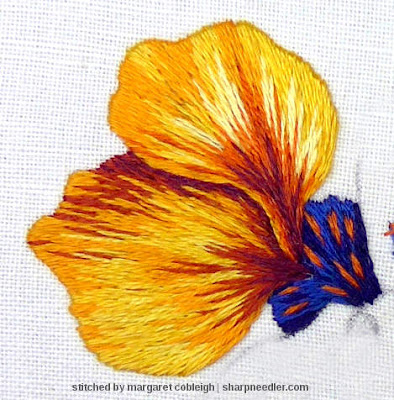 Detail of the first two thread painted nasturtium petals. (Catherine Laurencon Capucines (Inspirations))