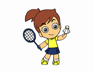 Dibujo de una niña jugando al bádminton