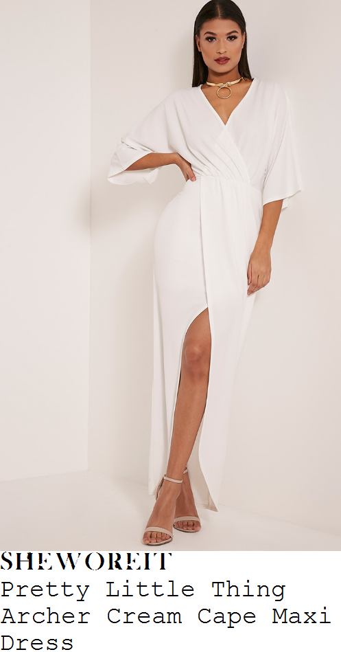 vicky-pattison-pretty-little-thing-archer-cream-white-three-quarter-cap-sleeve-v-neck-wrap-front-draped-asymmetric-maxi-dress