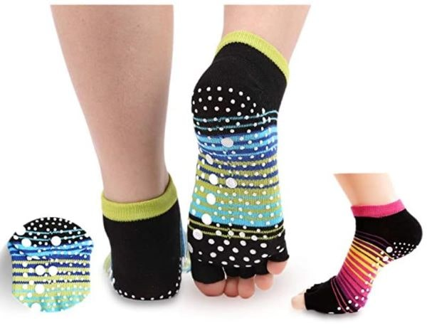 Toeless grip socks for pilates, yoga or pedicures