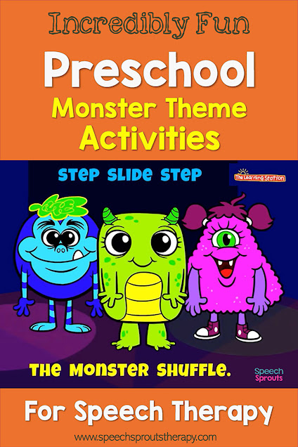 "These 3 cute monsters are featured in the Learning Stations's fun video ""Monster Shuffle"" which is perfect for a monster-themed movement break in preschool speech therapy."