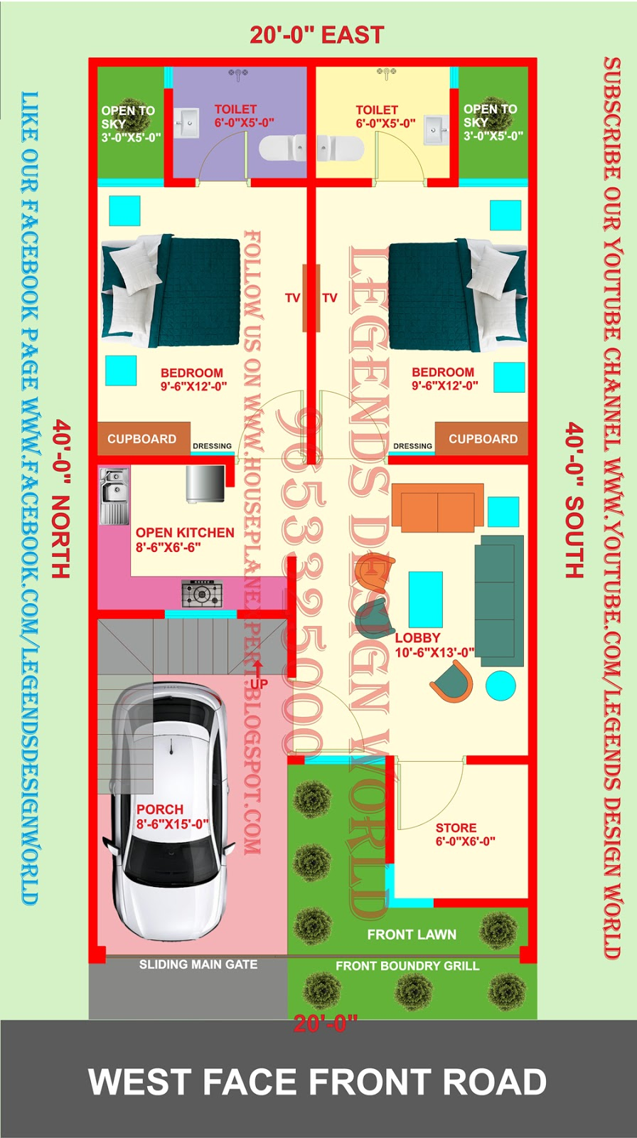 20x40 WEST FACING 2BHK HOUSE PLAN WITH CAR PARKING ...
