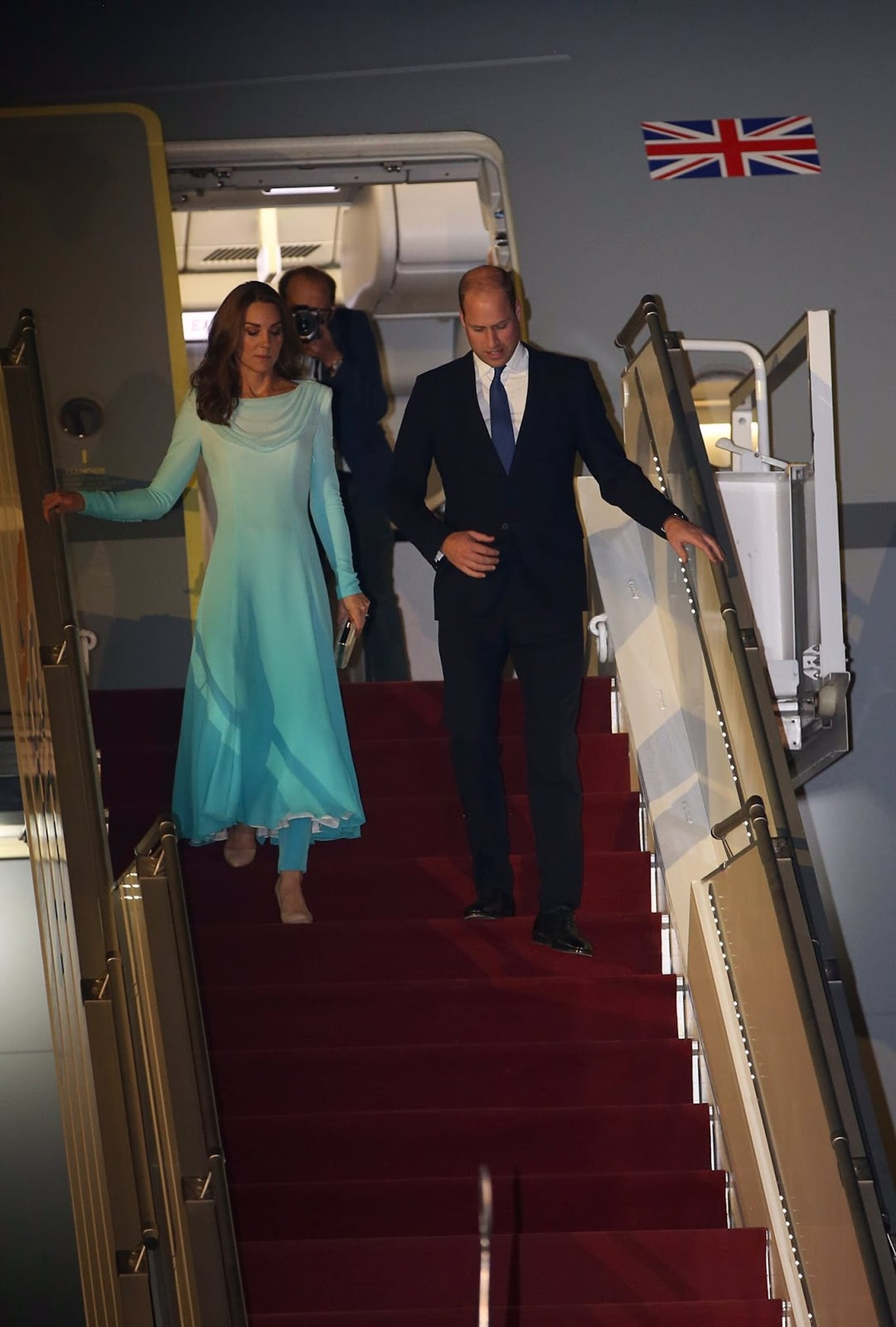 Kate Middleton Arrives in Pakistan Wearing a Bespoke Pale Blue Catherine Walker Dress and Trousers
