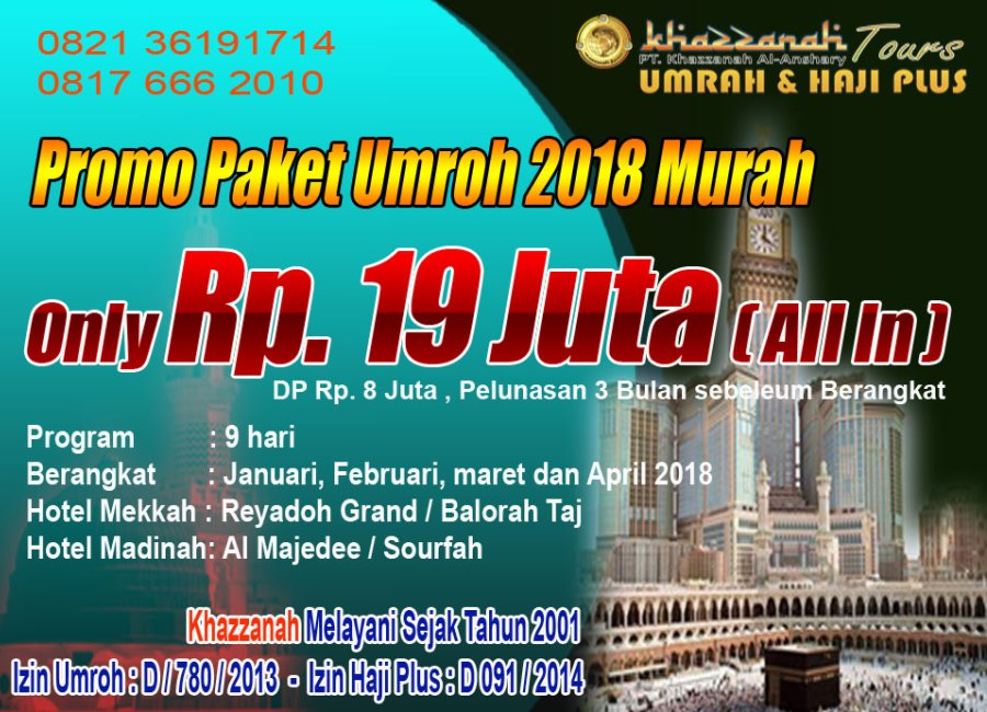 Paket Umrah 2018 Khazzanah tour