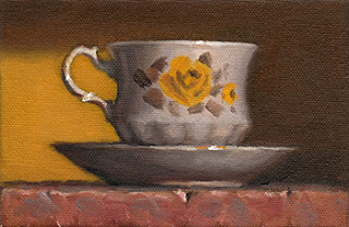 Oil painting of a Queen Anne teacup and saucer with a yellow rose pattern.