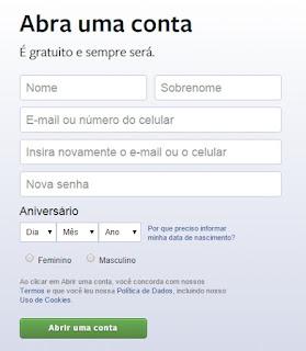 Facebook como fazer login