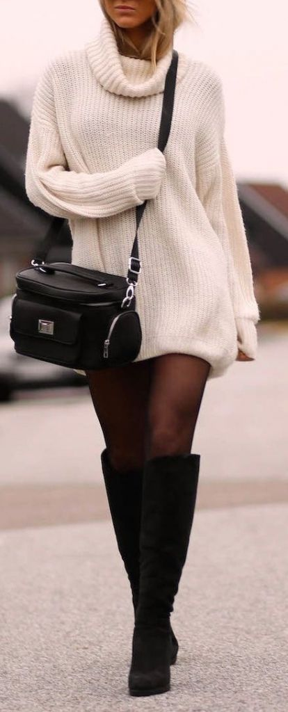 fall fashion inspiration / sweater dress + bag + high boots