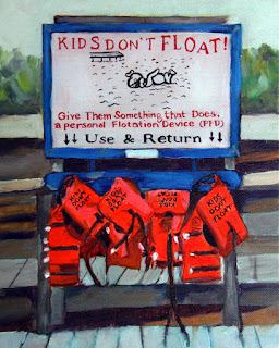 Kids Don't Float original oil Alaska painting by Merrill Weber