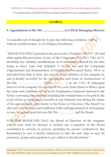 ordinary resolution for appointment of managing director