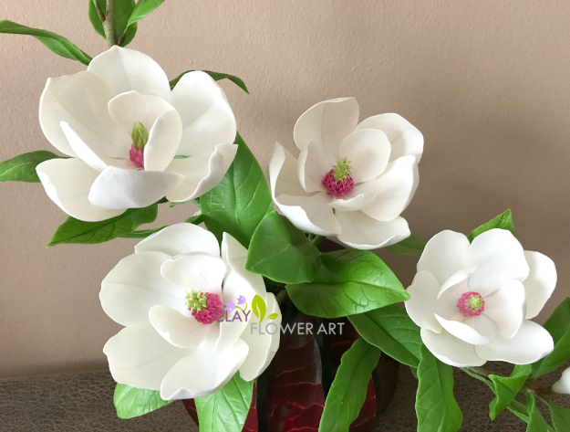 White magnolia clay flower art because of heavy rain and cloudy weather in bangkok i was not able to take proper photosyway i love these flowershope you all like this too mightylinksfo