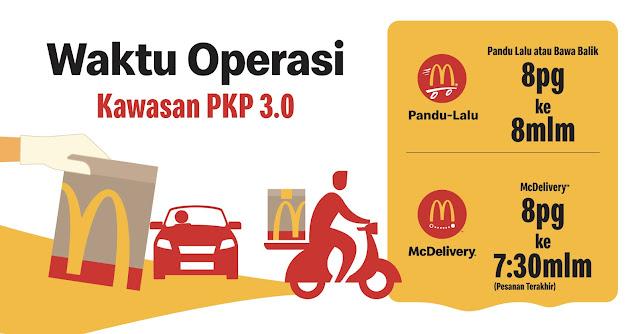 Waktu Operasi McDonalds Sepanjang Tempoh PKP 3.0 Bermula 25 Mei 2021