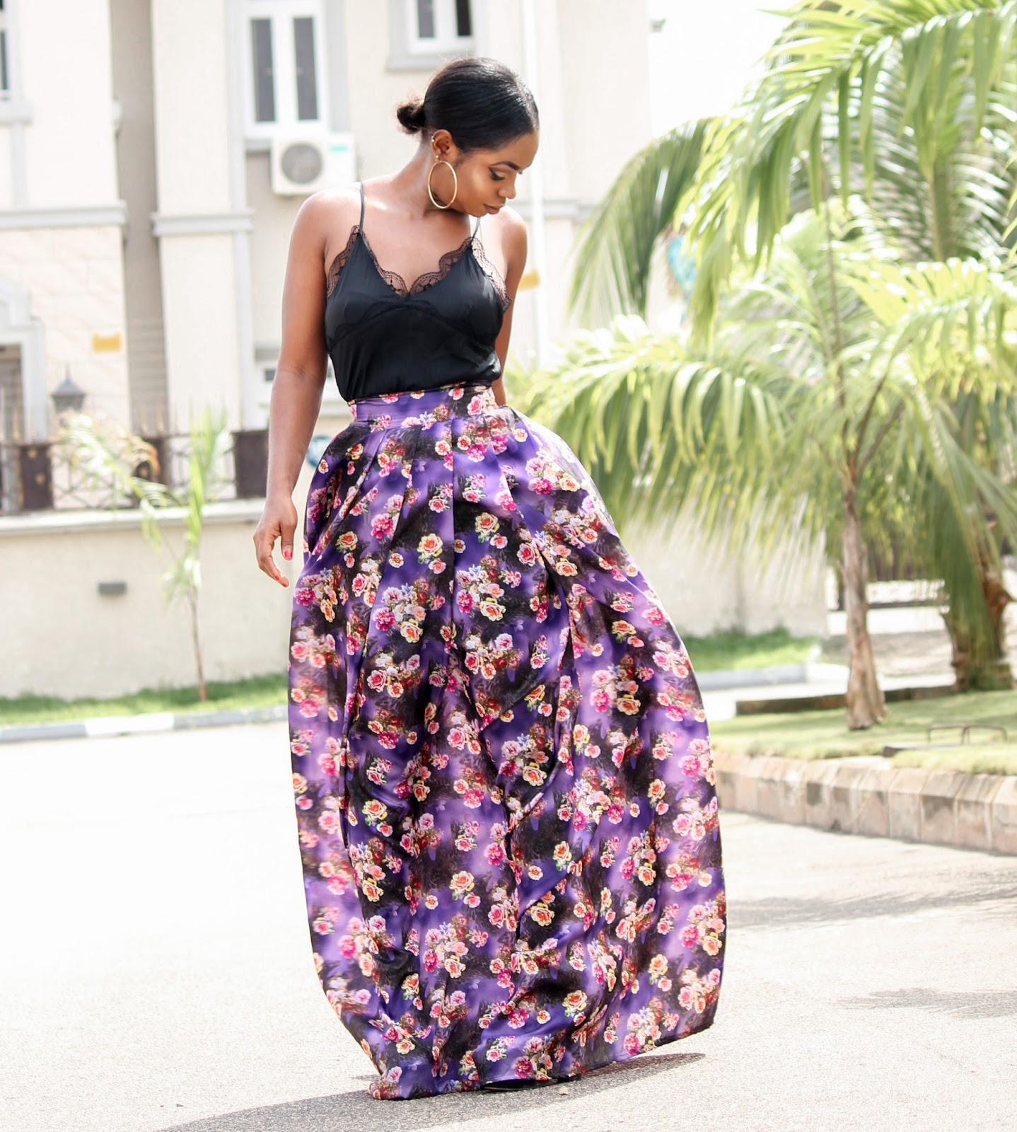 PURPLE FLORAL - Purple Floral Skirt by Porshher