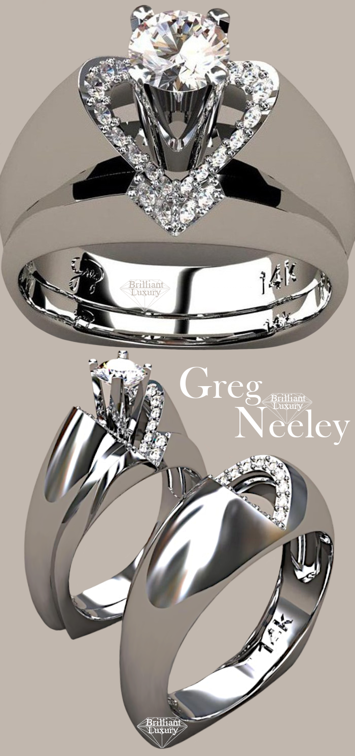 ♦Greg Neeley V Top Princess Diamond Engagement Ring Set #gregneeley #jewelry #brilliantluxury