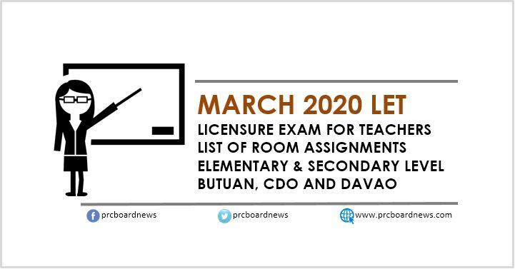 March 2020 LET Room Assignments: Butuan, CDO, Davao
