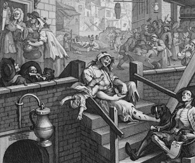 "Section of William Hogarth illustration ""Gin Lane,"" 1751."
