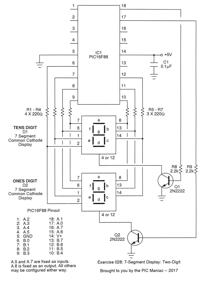 Pic Projects In Pascal 7 Segment Display Two Digits Circuit Diagram As Always Take Time To Study The Source Code By This Point You Should Be Quite Comfortable With Timer0 Interrupts Setting Port Data Direction