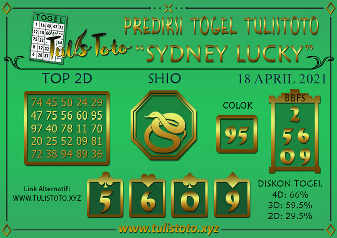 Prediksi Togel SYDNEY LUCKY TODAY TULISTOTO 18 APRIL 2021
