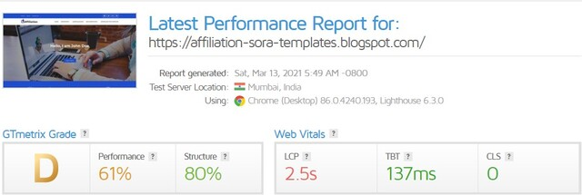 GT Metrix Score of Affiliation Blogger Template By Sora Templates