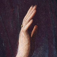 Giovanni Arnolfini's wedding ring in the Arnolfini Portrait by Jan van Eyck, depicted within his manicured nails