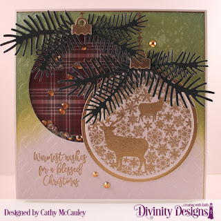 Stamp/Die Duos: Deer Ornament, Paper Collection: Rustic Christmas, Mixed Media Stencil: Circles, Custom Dies: Circles, Pinecones & Pine Branches
