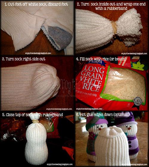 first six steps in making cute sock snowmen
