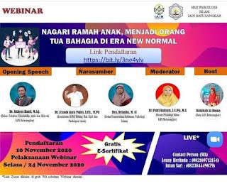"""Webinar HJM Psikologi Islam IAIN Batusangkar  """"Nagari Ramah Anak, Menjadi Orang tua Bahagia di Era New Normal"""""""
