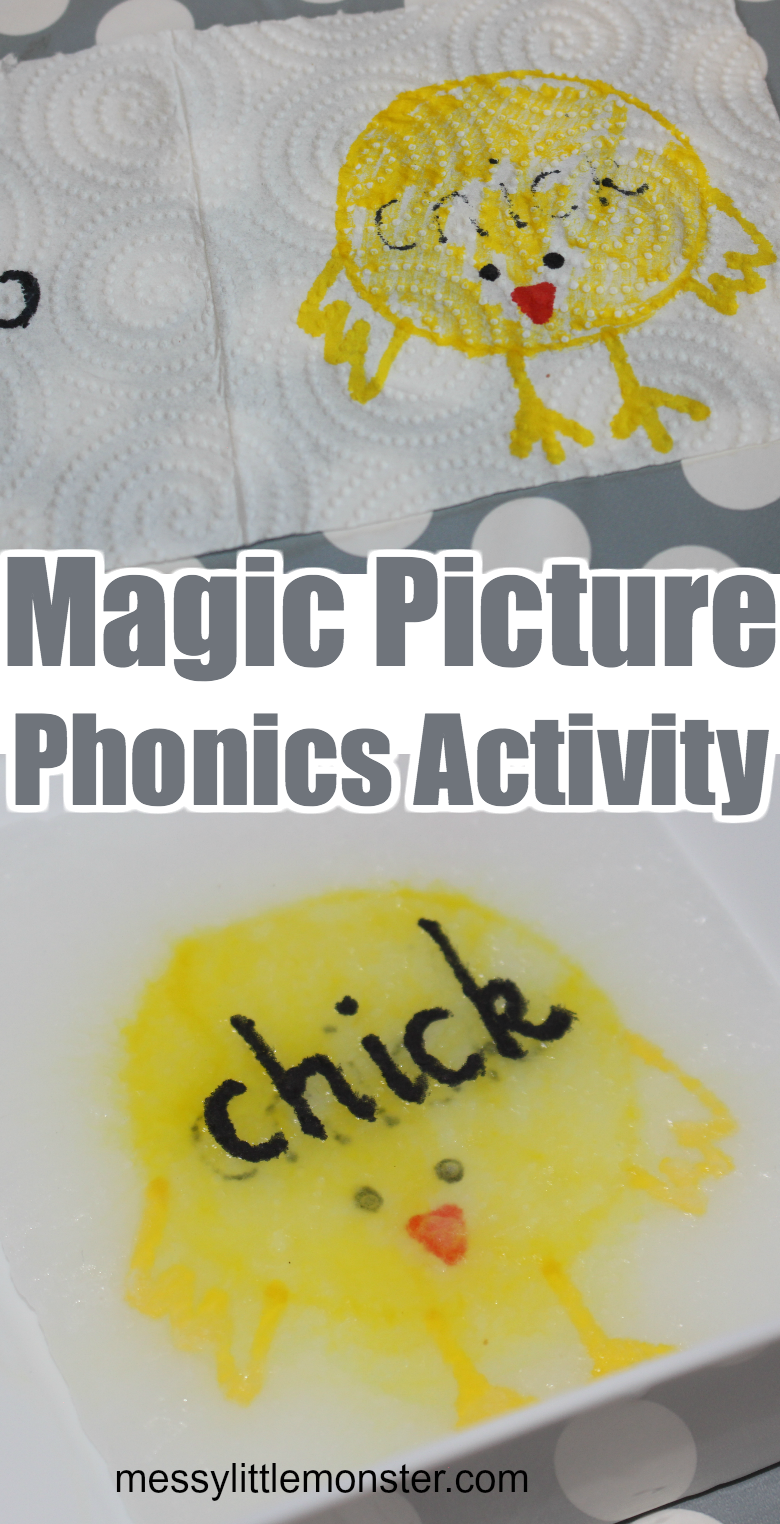 Magic paper towel art science experiment for kids. Fun and easy phonics activity idea for learning to read.