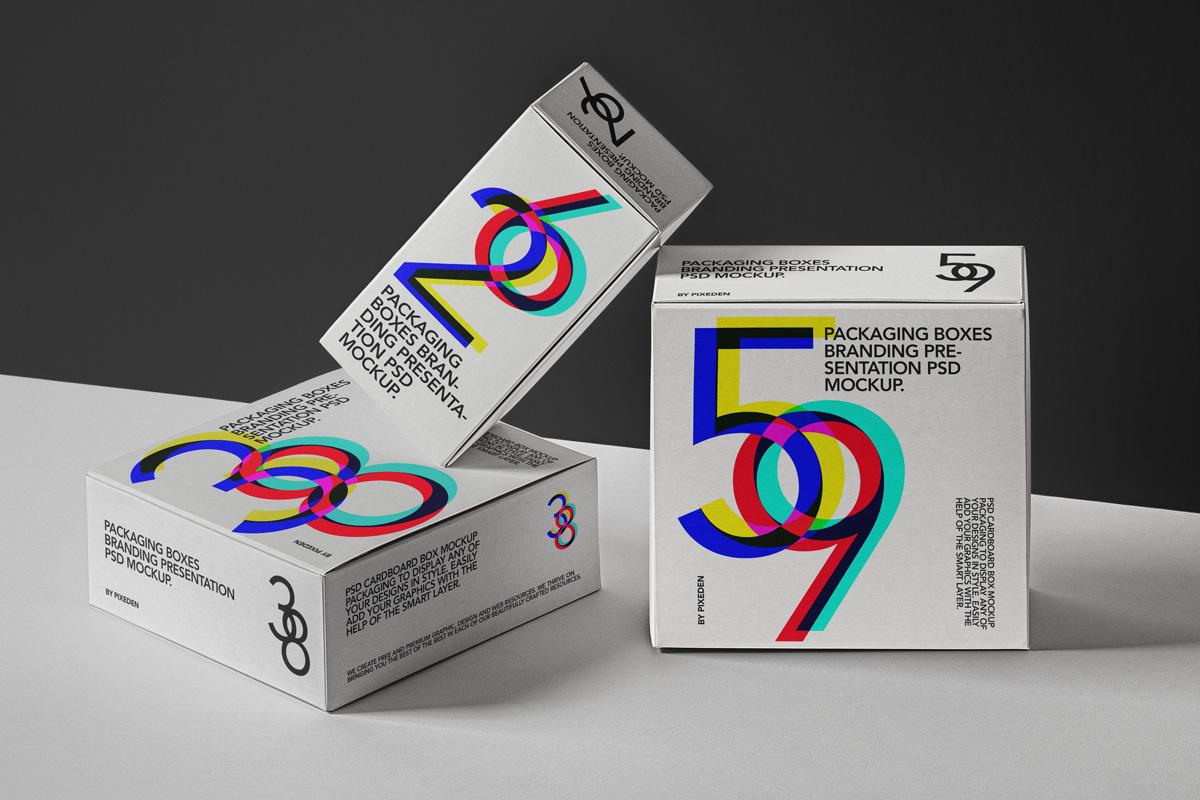 Three Packaging Box Mockup