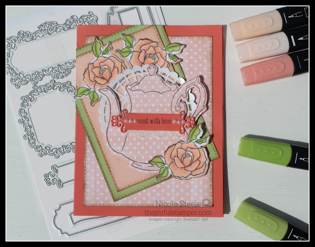 Tea Together card using Tea Time and Ornate Frames dies and Stampin' Blends by Nicole Steele The Joyful Stamper